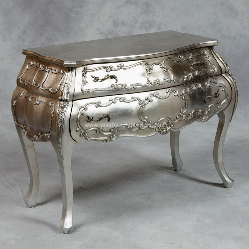 Bow Fronted Bombe Chest in Antique Silver